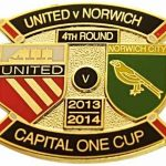 United v Norwich Capital One Cup Match Metal Badge…