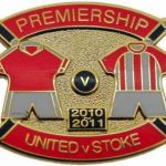 United v Stoke Premier Match Metal Badge 2010-2011