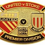 United v Stoke Premier Match Metal Badge 2013-2014